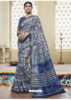 Dark Blue And Cream Printed Designer Cotton Silk Saree