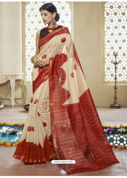Light Beige Printed Designer Cotton Silk Saree