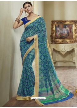 Multi Colour Printed Designer Cotton Silk Saree