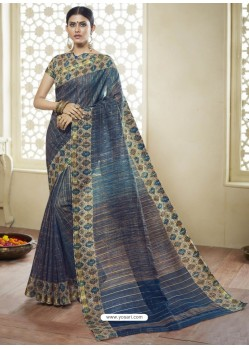 Peacock Blue Printed Designer Cotton Silk Saree