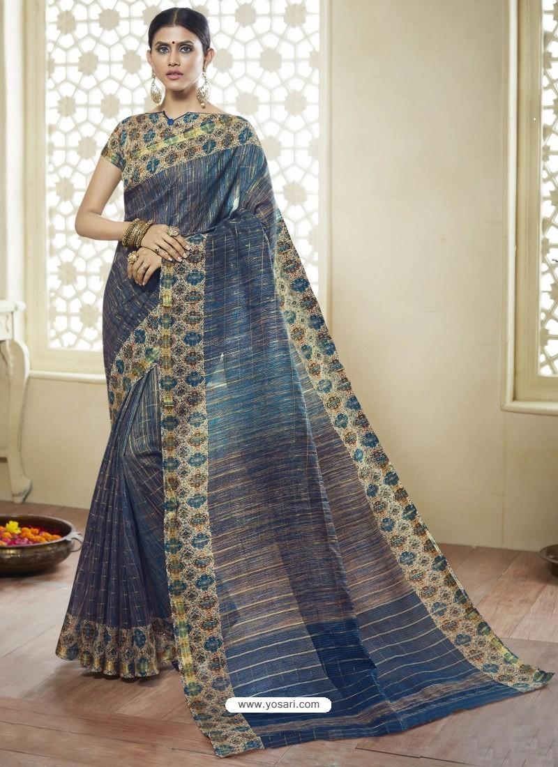 4ca11d1b71c7c8 Buy Peacock Blue Printed Designer Cotton Silk Saree | Casual Sarees