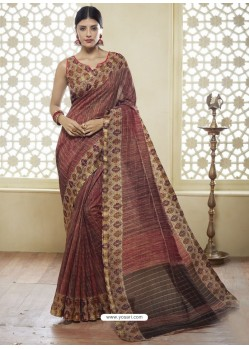 Wine Printed Designer Cotton Silk Saree