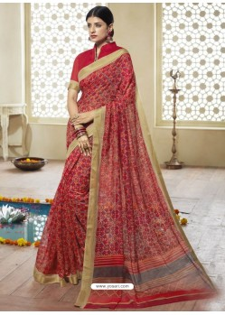 Fashionable Red Printed Designer Cotton Silk Saree