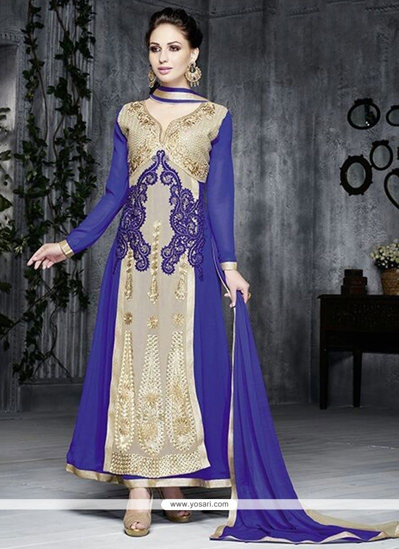 Ombre Blue And Cream Georgette Salwar Suit