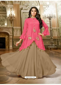 Fuchsia And Camel Satin Silk Embroidered Designer Gown