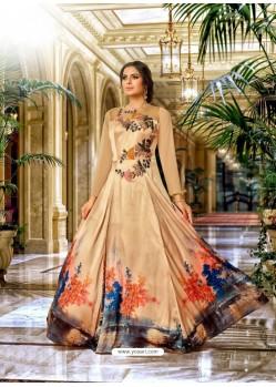 Light Brown Mashlin Silk Embroidered Designer Gown
