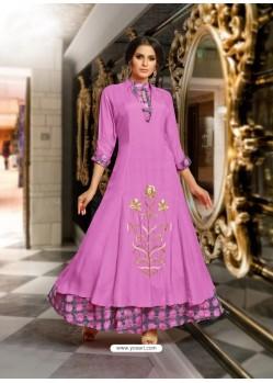 Magenta Mashlin Silk Embroidered Designer Gown