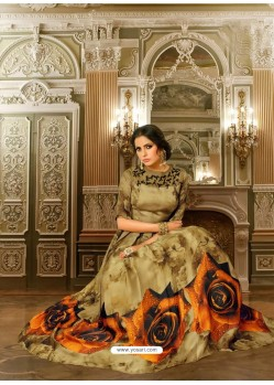Mehendi Mashlin Silk Embroidered Designer Gown