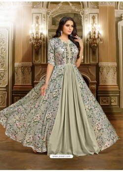 Silver Satin Silk Embroidered Designer Gown