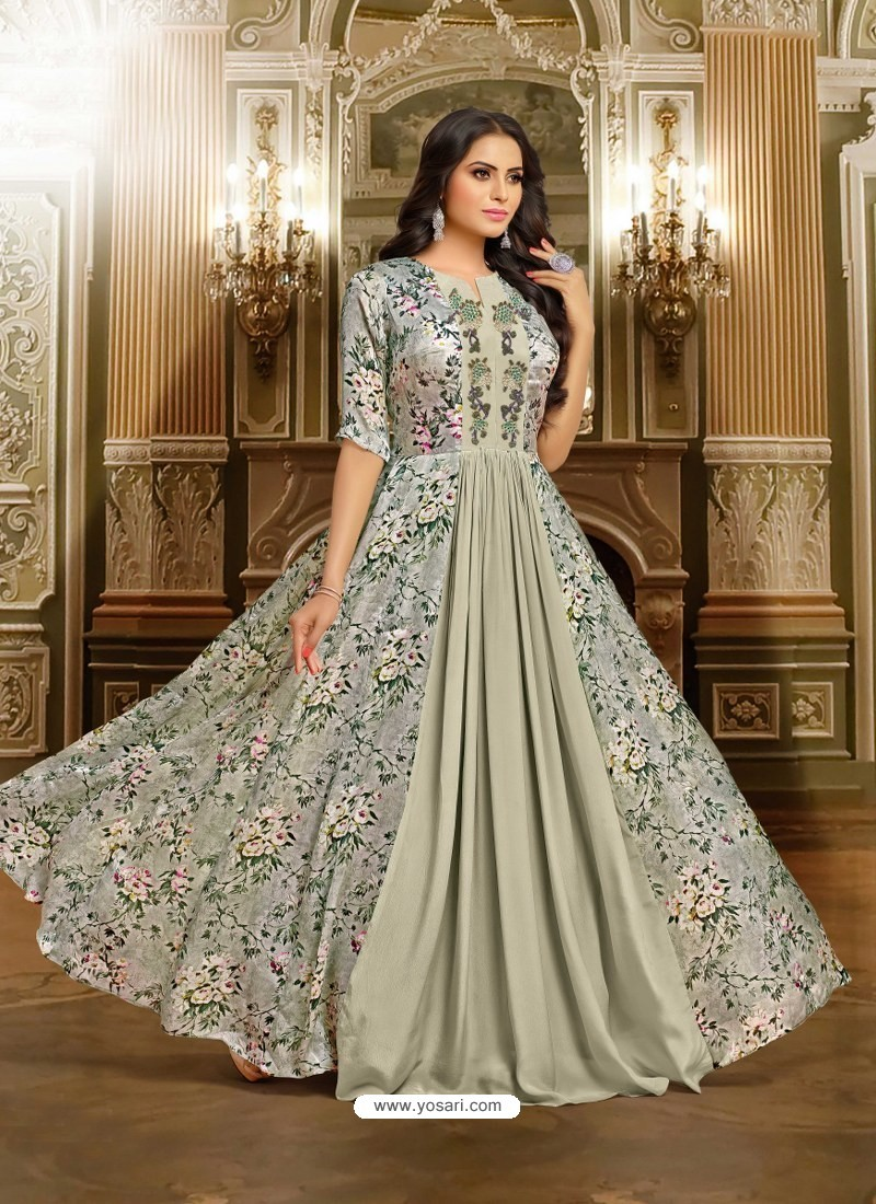 Buy Silver Satin Silk Embroidered Designer Gown | Gowns
