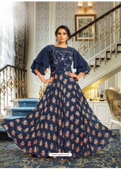 Navy Blue Satin Silk Embroidered Designer Gown