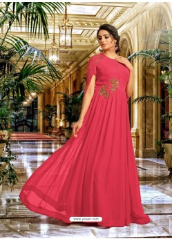 Crimson Georgette Embroidered Designer Gown
