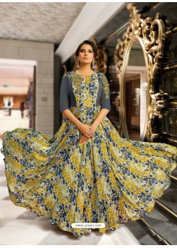 Dull Grey And Multi Colour Mashlin Silk Embroidered Designer Gown
