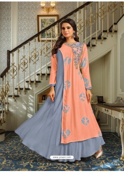 Light Orange And Grey Mashlin Silk Embroidered Designer Gown