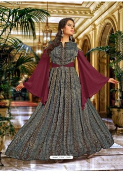 Wine And Carbon Satin Silk Embroidered Designer Gown