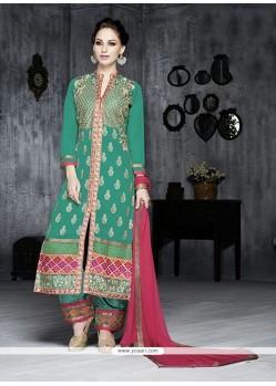 Stylish Green Georgette Pakistani Suit