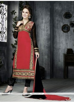 Stellar Red Zari Work Georgette Pant Style Suit