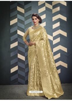 Cream Organza Silk Designer Jacquard Saree