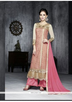 Stylish Pink Georgette Palazzo Suit