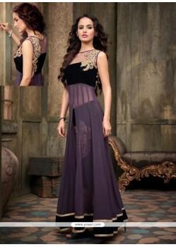 Purple And Black Georgette Anarkali Suit