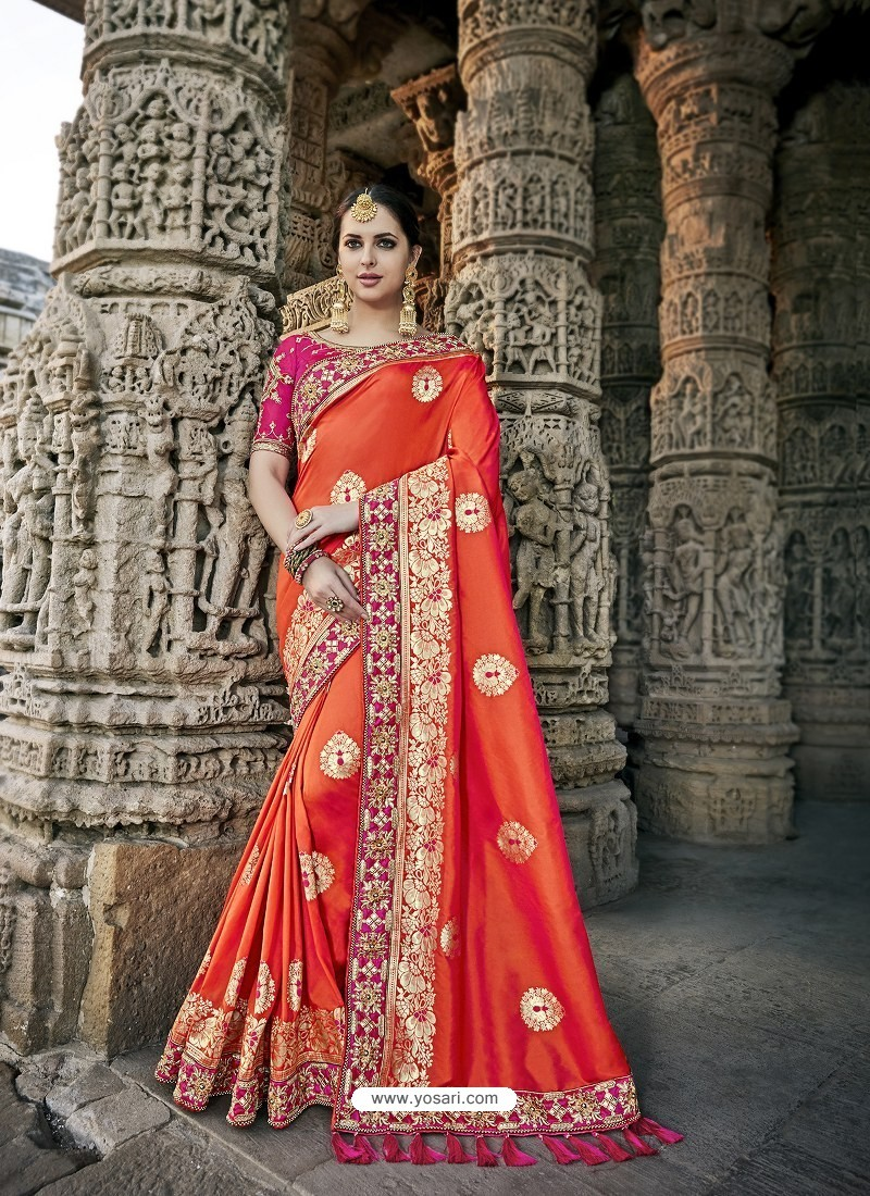 38daf9b1a4 Buy Crimson Designer Party Wear Heavy Silk Saree | Party Wear Sarees