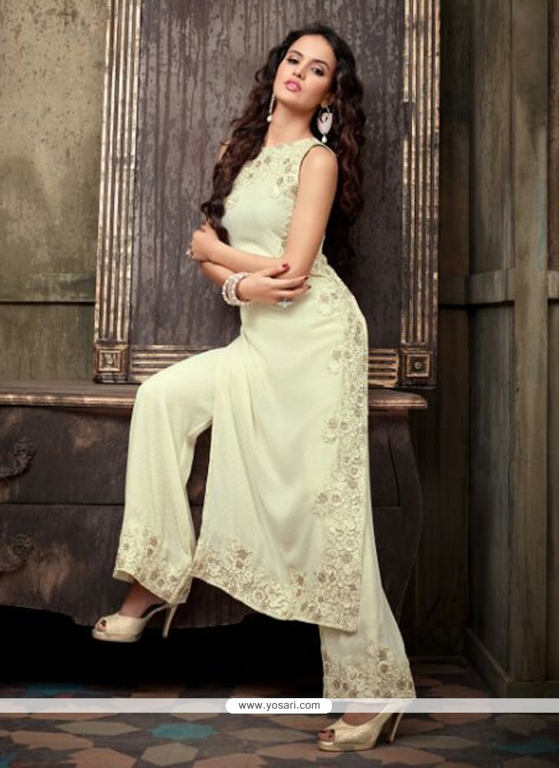 Exquisite Off White Georgette Palazzo Suit