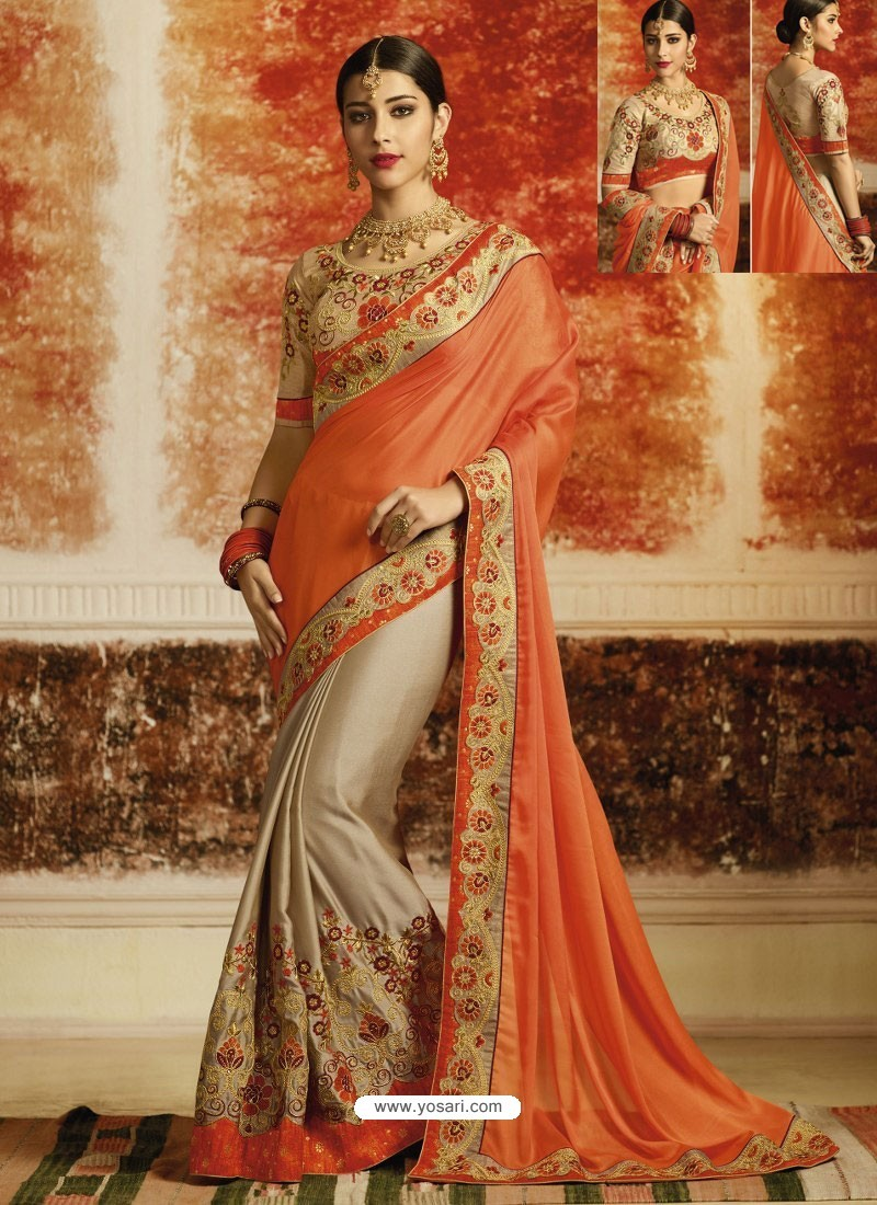 c543edee9ee294 Orange And Light Brown Embroidered Designer Rangoli Silk Party Wear Saree