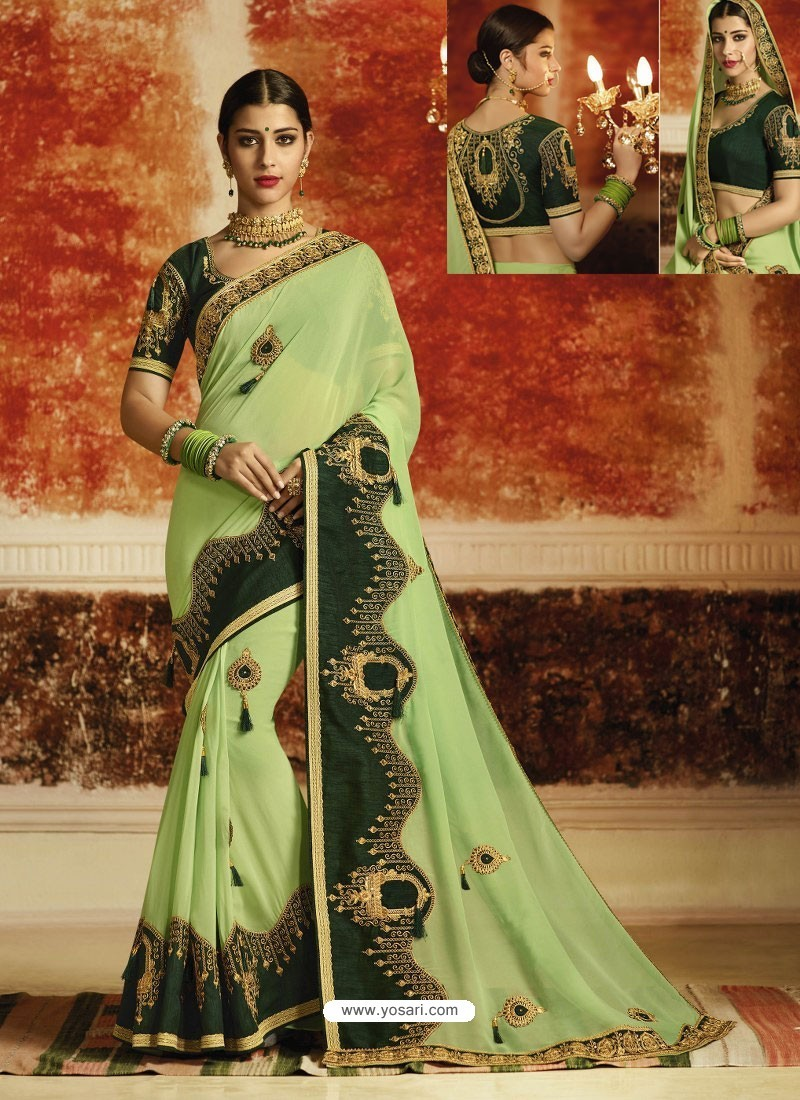 461b64b414 Buy Sea Green Embroidered Designer Georgette Party Wear Saree ...