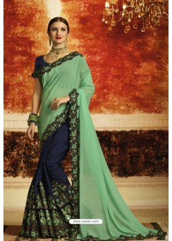 Jade Green And Navy Blue Embroidered Designer Georgette Party Wear Saree