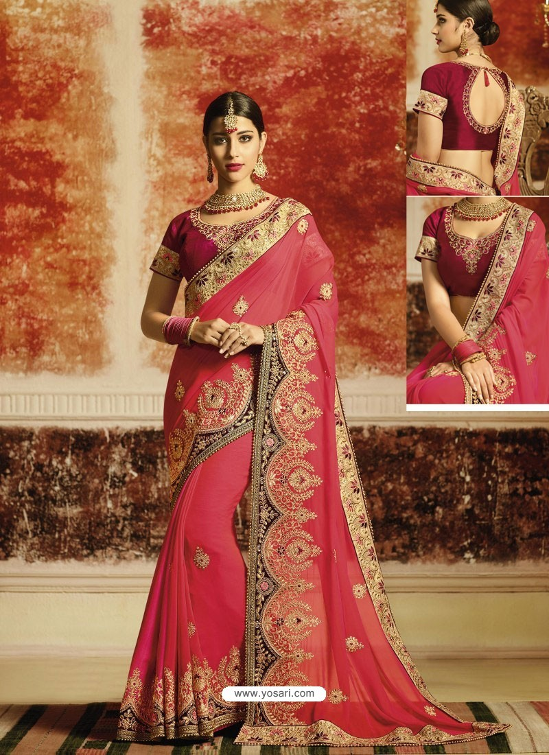 58dfd6155b Buy Rani Embroidered Designer Fancy Georgette Party Wear Saree ...