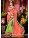 Blooming Peach And Green Faux Georgette Saree