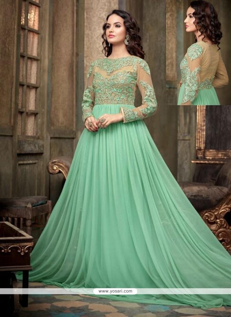Fab Sea Green Net Floor Length Anarkali Suit