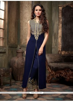 Elite Navy Blue Georgette Pant Style Suit