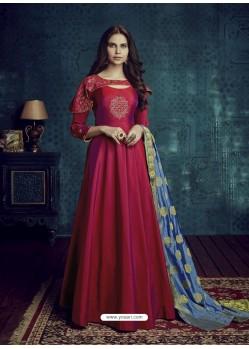 Wine Embroidered Tapeta Silk Designer Floor Length Suit