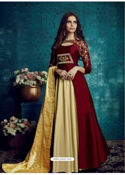 Maroon And Cream Embroidered Tapeta Silk Designer Floor Length Suit