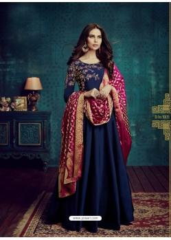 Navy Blue Embroidered Tapeta Silk Designer Floor Length Suit