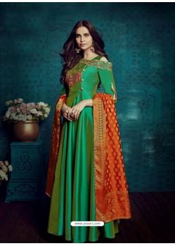 Dark Green Embroidered Tapeta Silk Designer Floor Length Suit