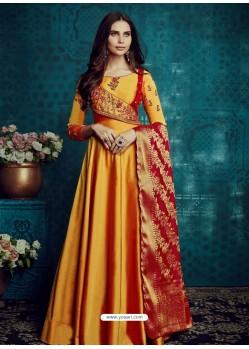 Orange Embroidered Tapeta Silk Designer Floor Length Suit
