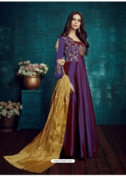 Purple Embroidered Tapeta Silk Designer Floor Length Suit