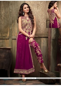 Flashy Magenta Georgette Pant Style Suit