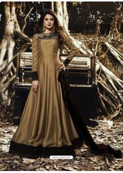 Gold Satin Silk Velvet Designer Floor Length Embroidered Suit