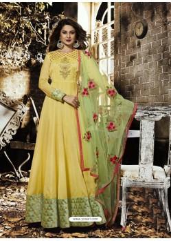 Yellow Pure Silk Chanderi Designer Floor Length Embroidered Suit