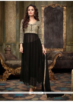 Embellished Black Georgette Anarkali Suit