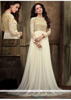 Exquisite White Net Floor Length Anarkali Suit