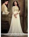 Exquisite White Net Floor Length Anarkali Suit