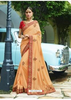 Exclusive Light Orange Embroidered Designer Silk Wedding Saree