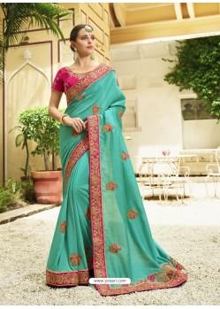Aqua Mint Embroidered Designer Silk Wedding Saree
