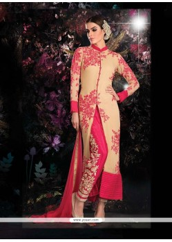 Cream And Pink Georgette Pant Style Suit