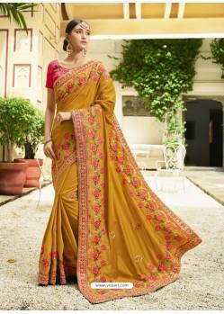 Mustard Embroidered Designer Silk Wedding Saree