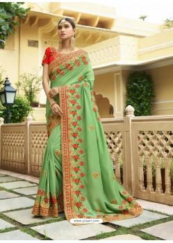 Green Embroidered Designer Silk Wedding Saree